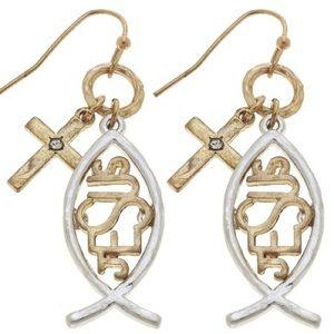 ⭐️COMING SOON⭐️ 2 tone Jesus ichthys earrings